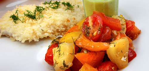 Baked Tomato White Fish with Cucumber Sauce